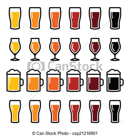 Vector Clipart of Beer glasses different types icons.