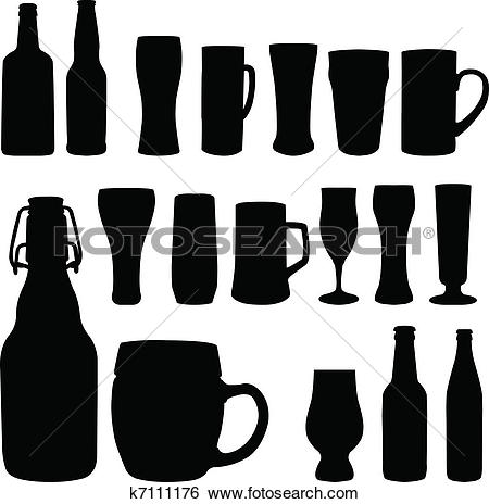 Clip Art of beer in glass and bottle vector ill k8464986.