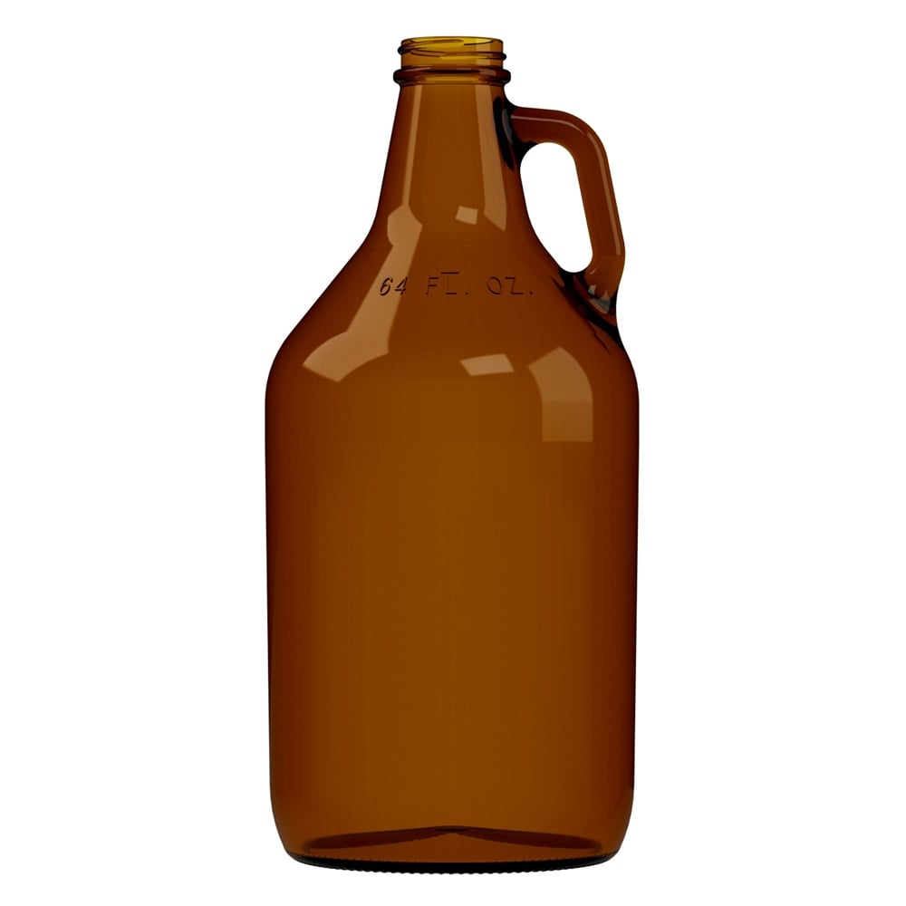 64oz Amber Screw Neck Growler.