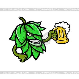 Hops Drinking Beer Mascot.