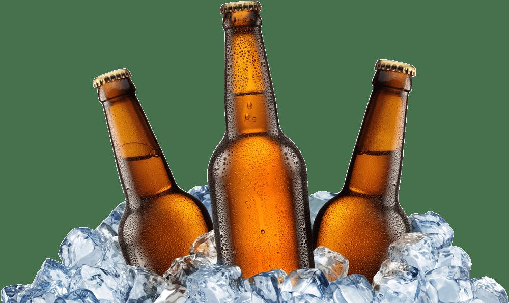 Old Stump Beer Bottles on Ice transparent PNG.