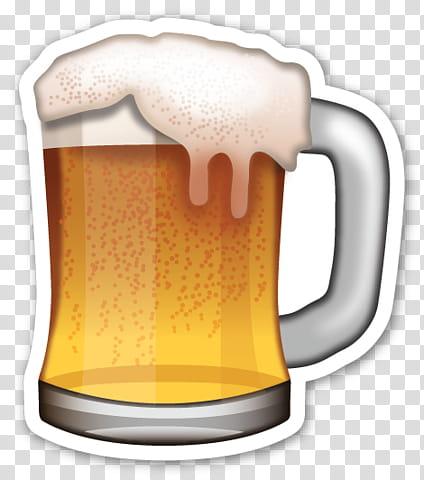 EMOJI STICKER , beer filled beer mug transparent background.