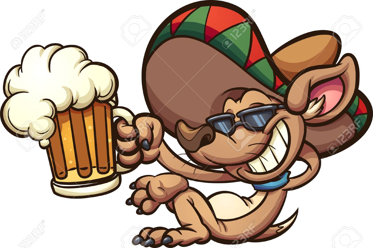 Mexican chihuahua holding a beer mug. Vector clip art illustration...