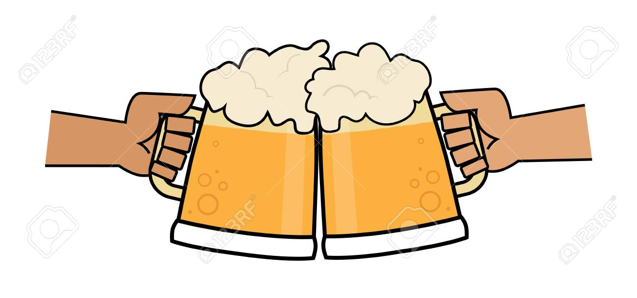 Clip art of two hands holding beer mugs making a toast..