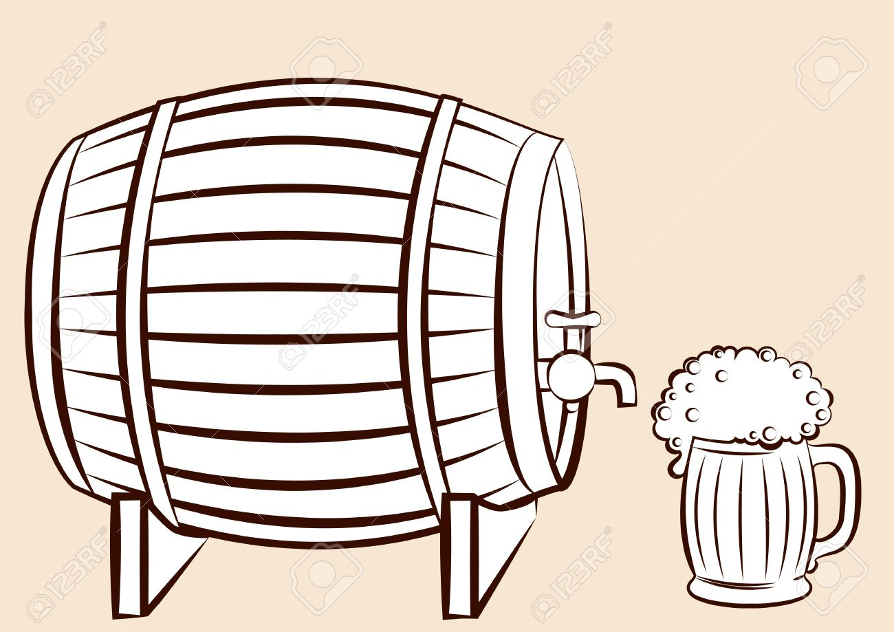 Beer Keg And Glass.for Design Royalty Free Cliparts, Vectors, And.