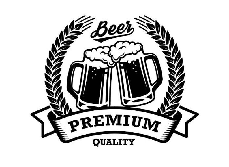 Beer Logo #7 Premium Quality Label Emblem Pub Bar Tavern Brew Brewery Cheer  Alcohol Liquor Drink .SVG .EPS .PNG Vector Cricut Cut Cutting.