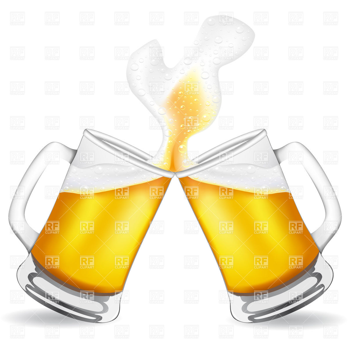 Two toasting beer glass and splashing beer Stock Vector Image.