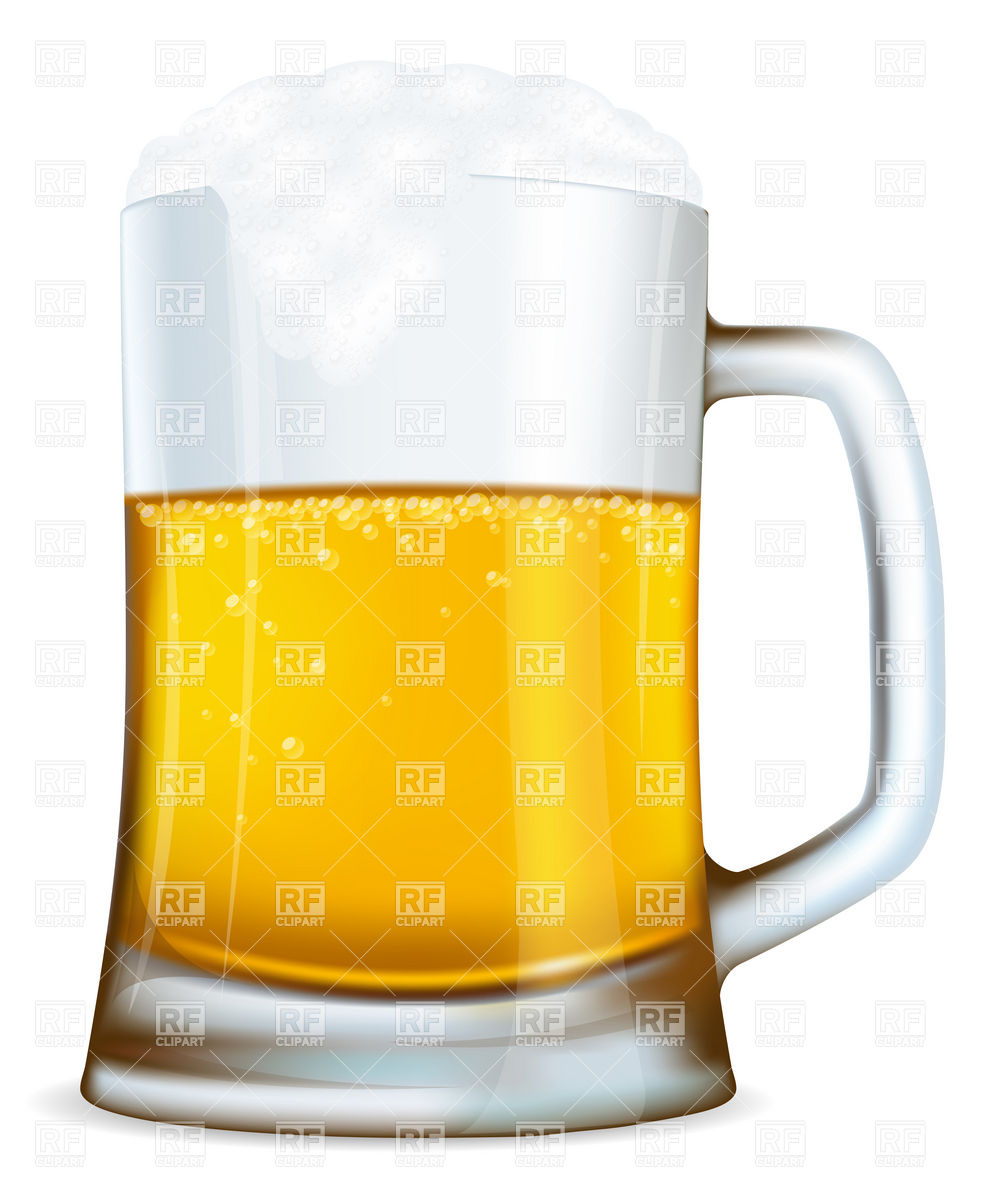 Beer mug with foam Stock Vector Image.