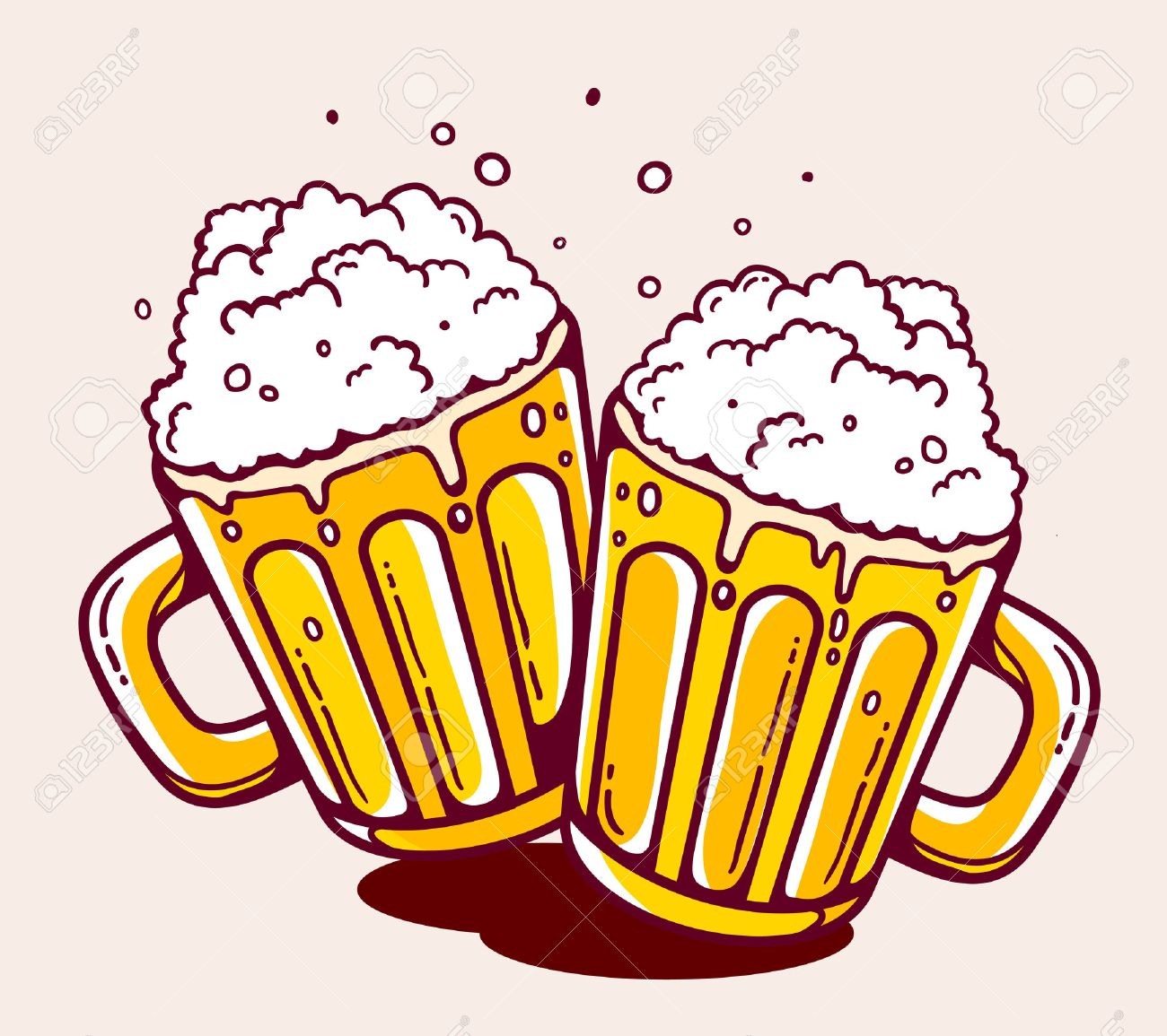 illustration of bright two beer mugs on yellow background. Hand...