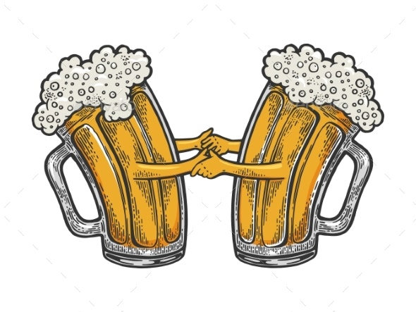 Beer Mug Dance Color Sketch Engraving Vector.