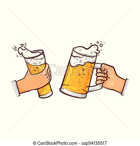 vector cartoon hands with beer glasses toasting.