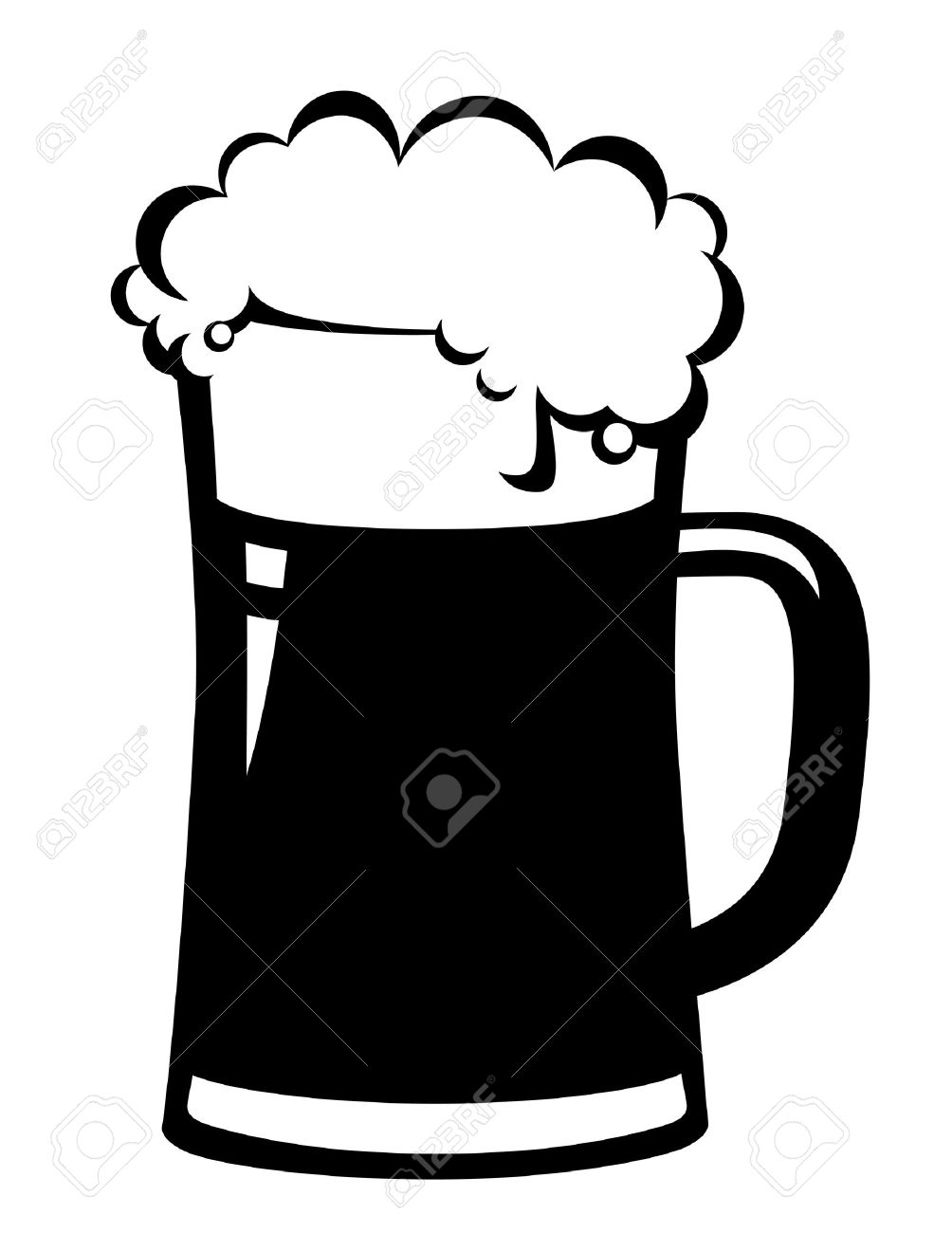 black beer mug on white.