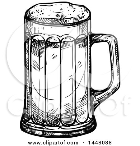 Clipart of a Black and White Sketched Beer Mug.