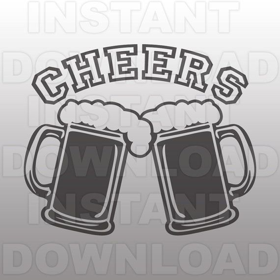 Beer Mugs with Cheers SVG File,Beer SVG File.