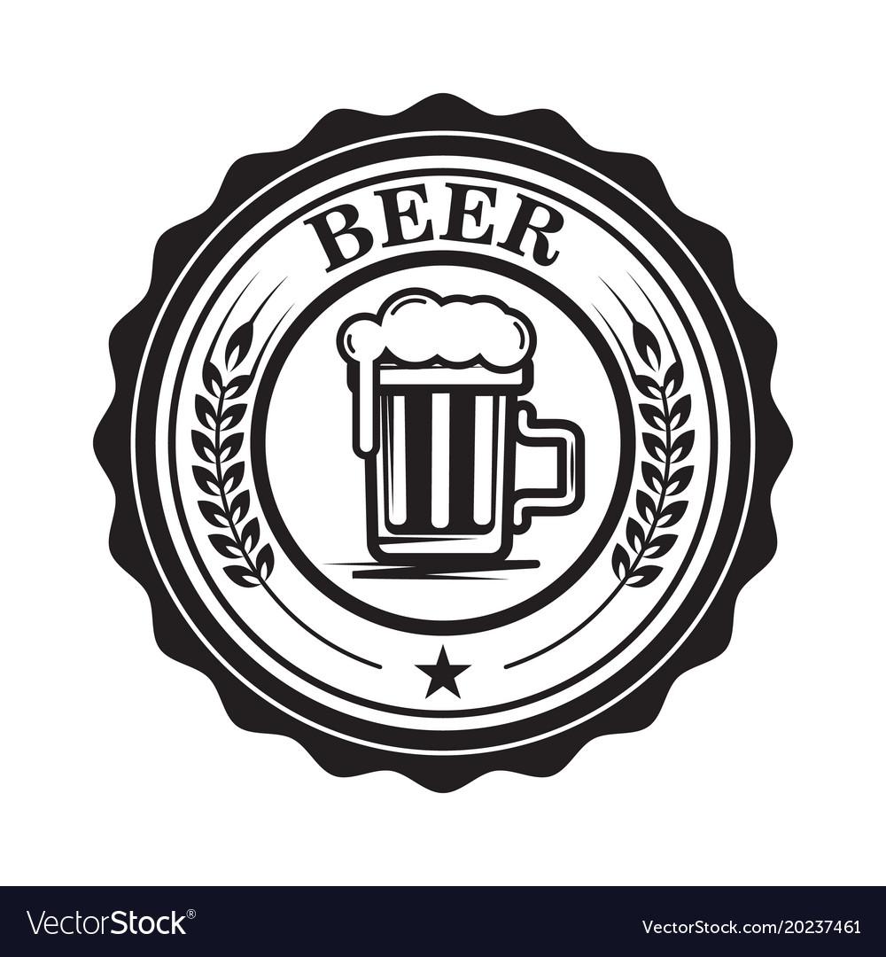 Emblem with beer mug design element for logo.