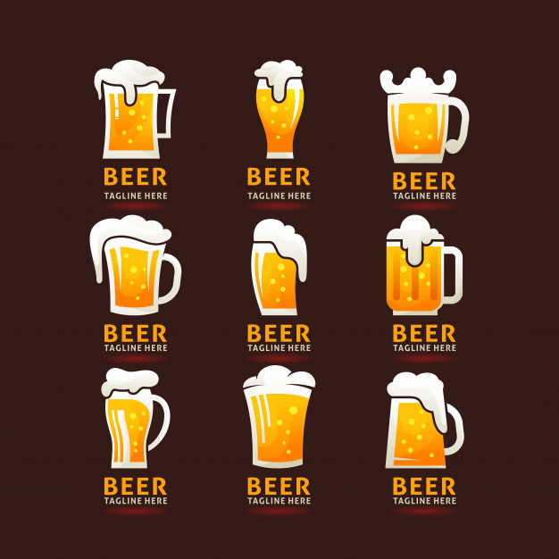 Collection of frothy beer mug logo Vector.