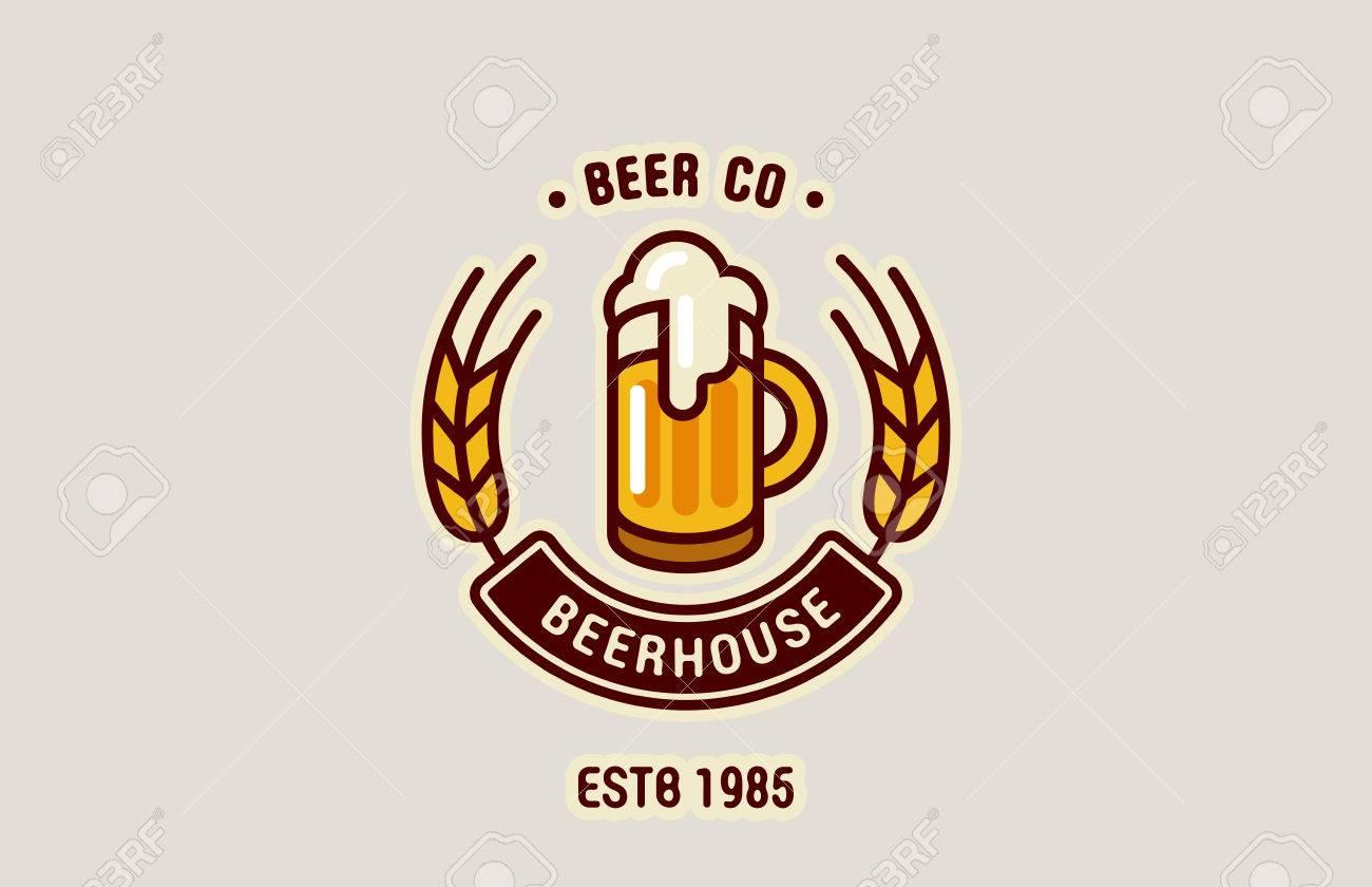 Beer Mug Logo abstract design vintage vector template., Brewery,...