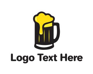 Golden Foaming Beer Mug Logo.