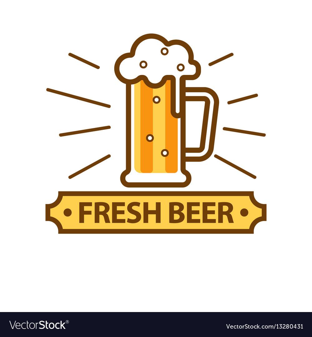 Fresh light beer glass with white foam logo on.