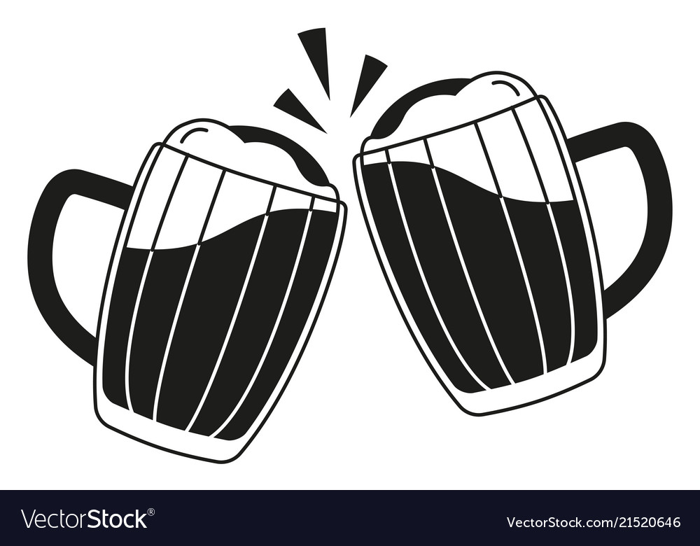 Black and white two beer mug silhouette.