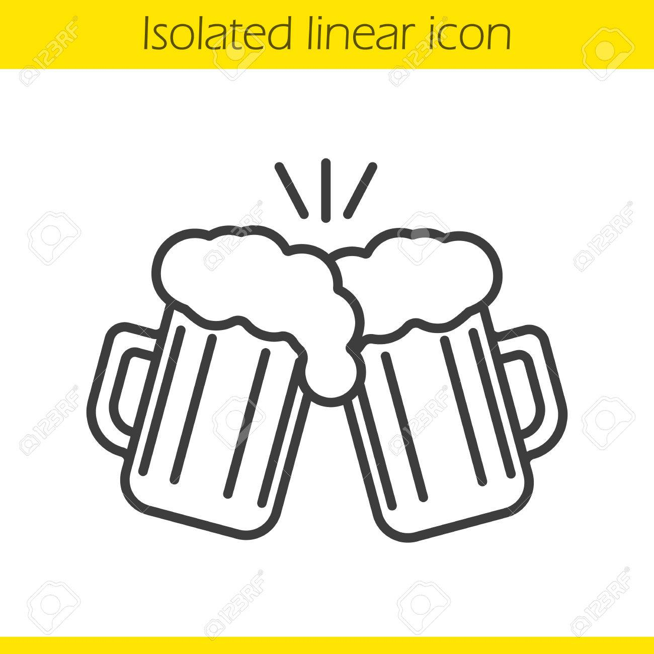 Toasting beer glasses linear icon. Cheers. Thin line illustration.