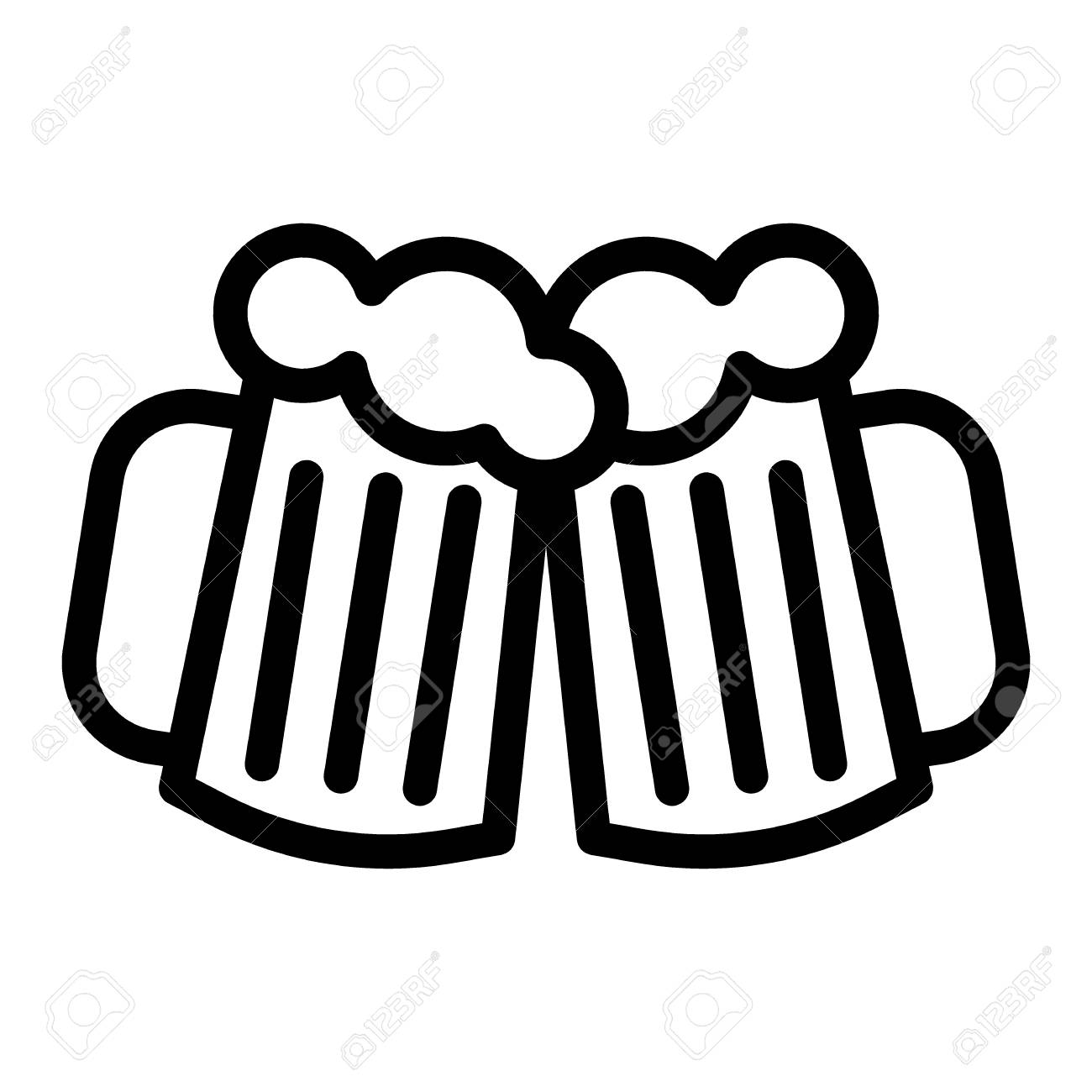 Two glasses of beer line icon. Cheers beer mugs vector illustration...