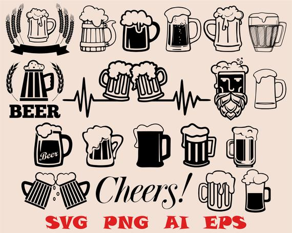 beer mug svg beer glass silhouette/cheers png/cut file/vinyl  file/EPS/cricut/vector/clipart/stencil/logo/digital download/silhouette  cameo.
