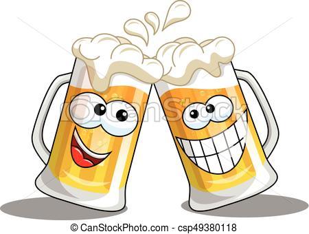 Cartoon beer mugs cheers isolated.