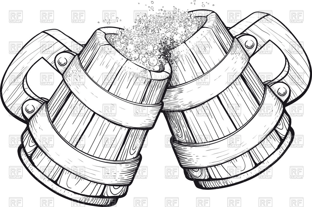 Two old wooden beer mugs Stock Vector Image.