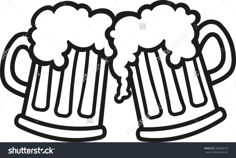 Cheers Beer Mugs Clip Art.