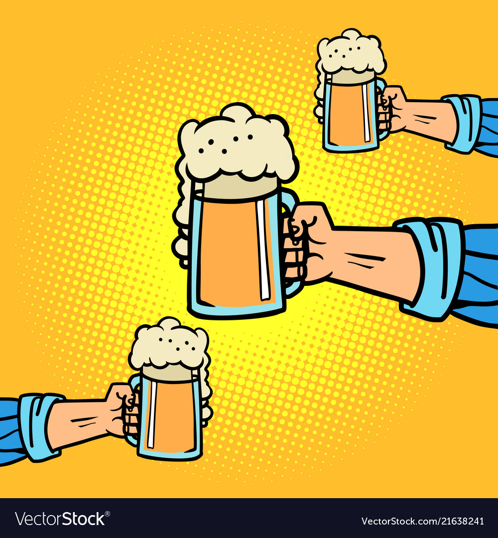 Hands with beer mugs.