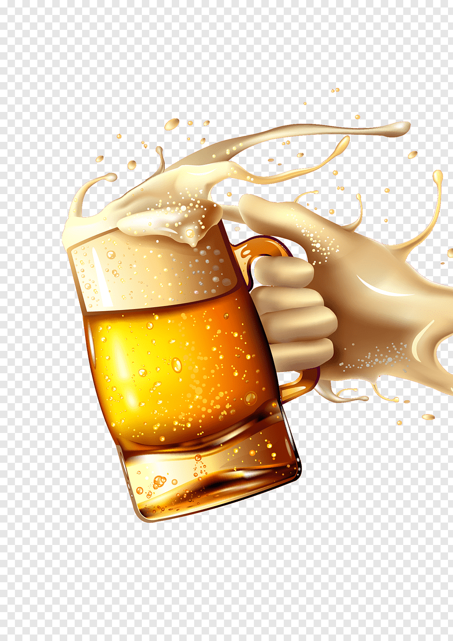 Liquid hand holding beer mug, Beer glassware Beer bottle.