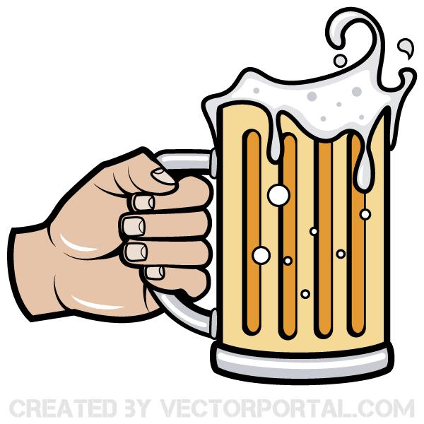 Hand Holding Beer Mug Vector Image.