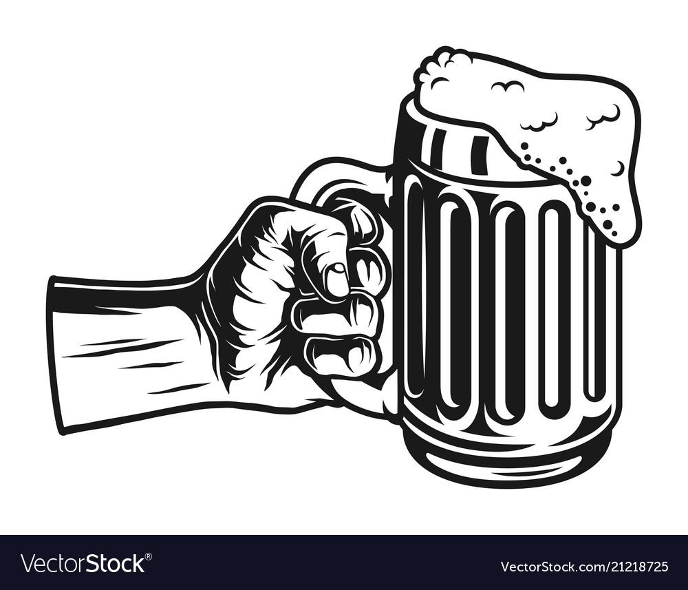 Male hand holding beer mug concept.