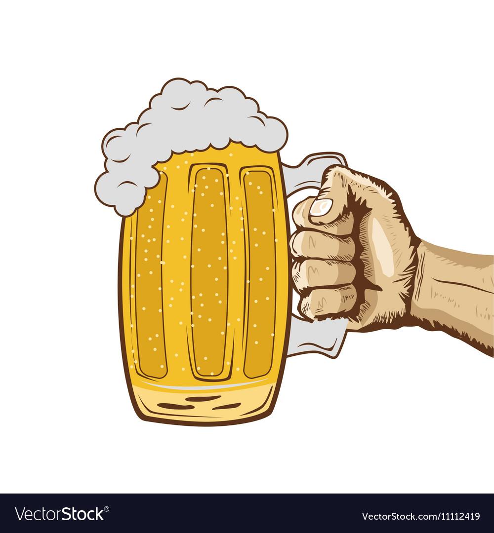 Sketch of hand holding mug of beer.