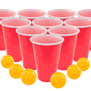 Fairly Odd Novelties Beer Pong Set, 24 Red Cups and Ping Pong Balls..