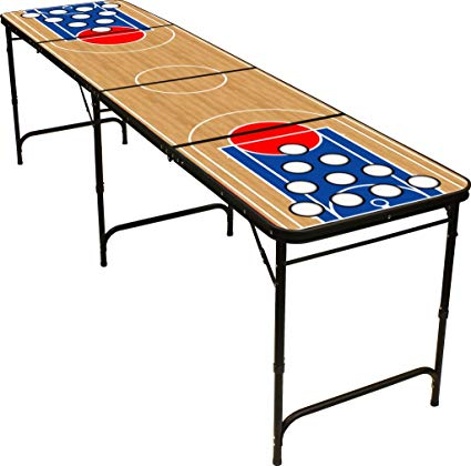 8\' Folding Beer Pong Table with Bottle Opener, Ball Rack and 6 Pong Balls.