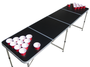 Blank Black Customizable Beer Pong Table With Holes.
