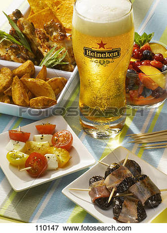 Picture of Selection of tapas and glass of beer 110147.