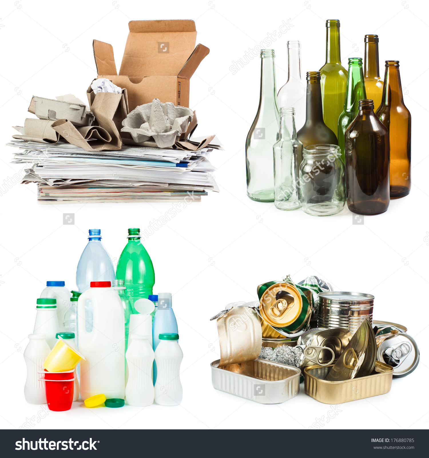 Selection Garbage Recycling Segregated Metal Plastic Stock Photo.