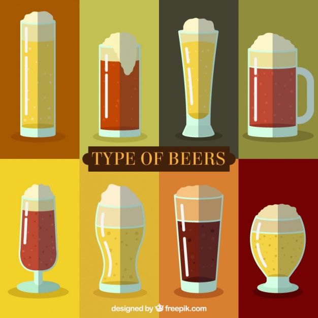 Selection of different types of beer with foam Vector.
