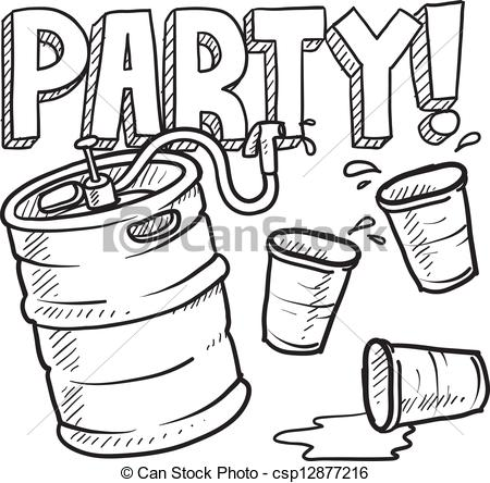 Vector Clip Art of Keg party sketch.