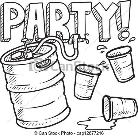 Vector Clip Art of Keg party sketch.