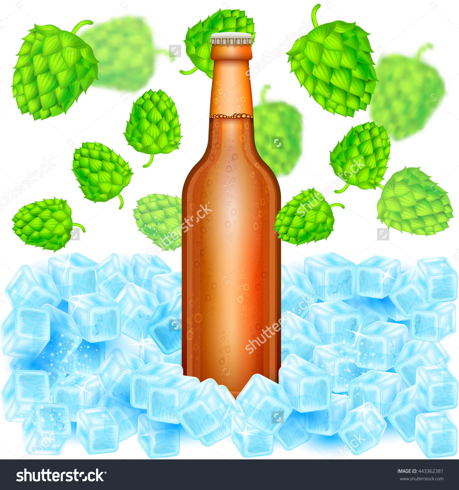 Realistic Brown Bottle Of Beer Stand In Ice Cubes Among Flying.