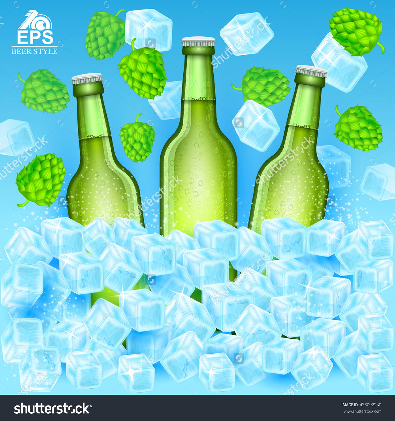 Three Realistic Green Bottle Of Beer Stand In Ice Cubes Among.