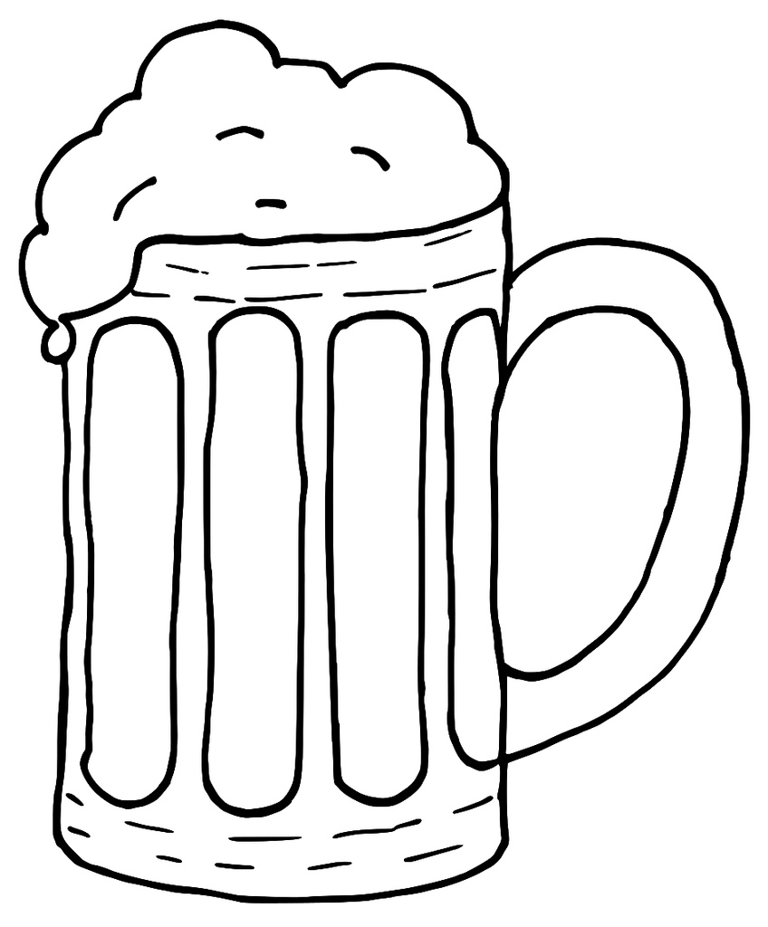 Beer stein clipart black and white.