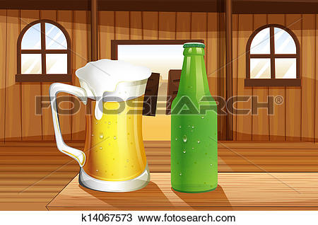 Clipart of A beer and a bottle of softdrink at the table k14067573.