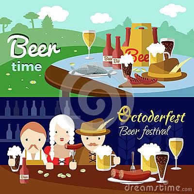 Beer Banner Set Stock Vector.