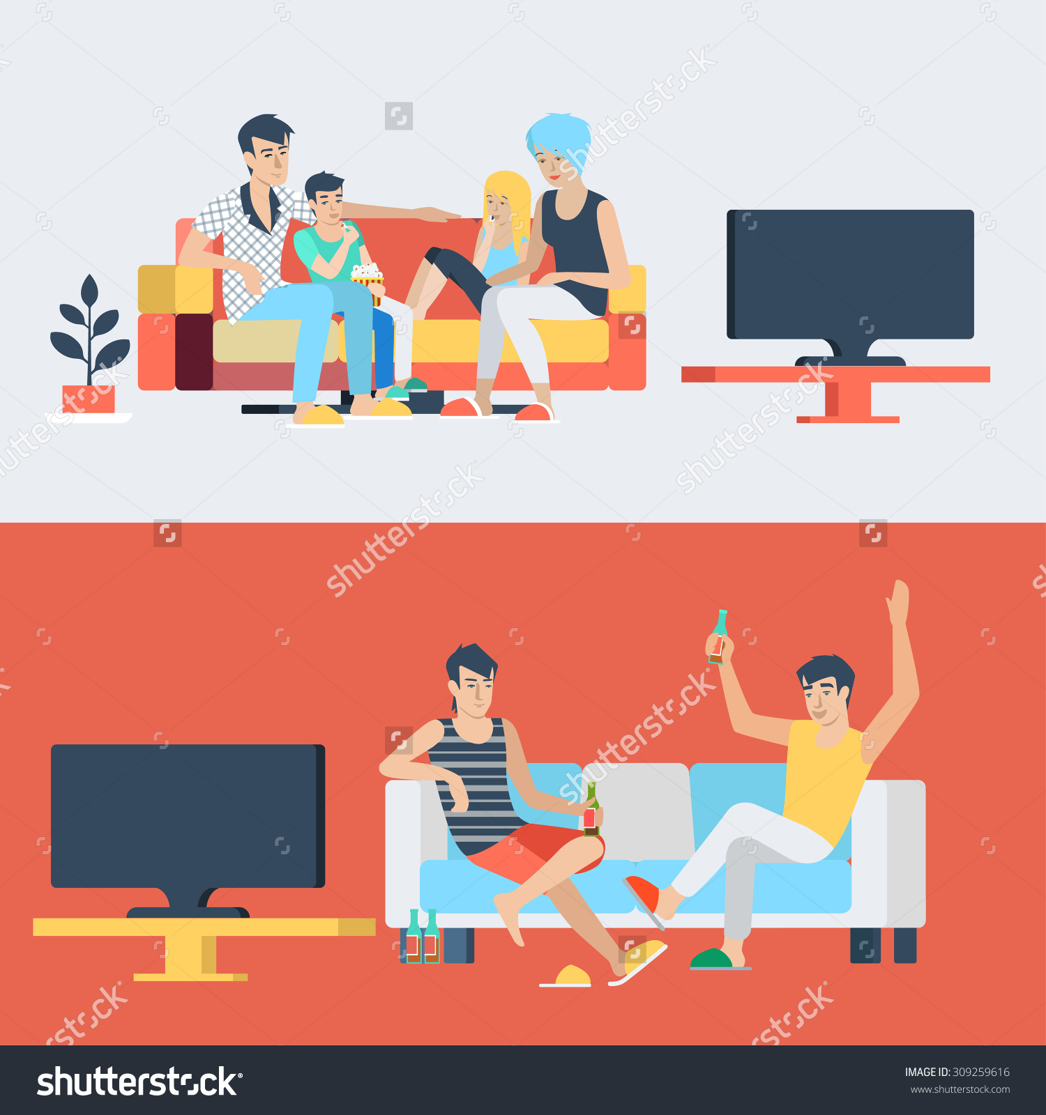 Set Family Couple Kids Children In Living Room Parenting Watch Tv.