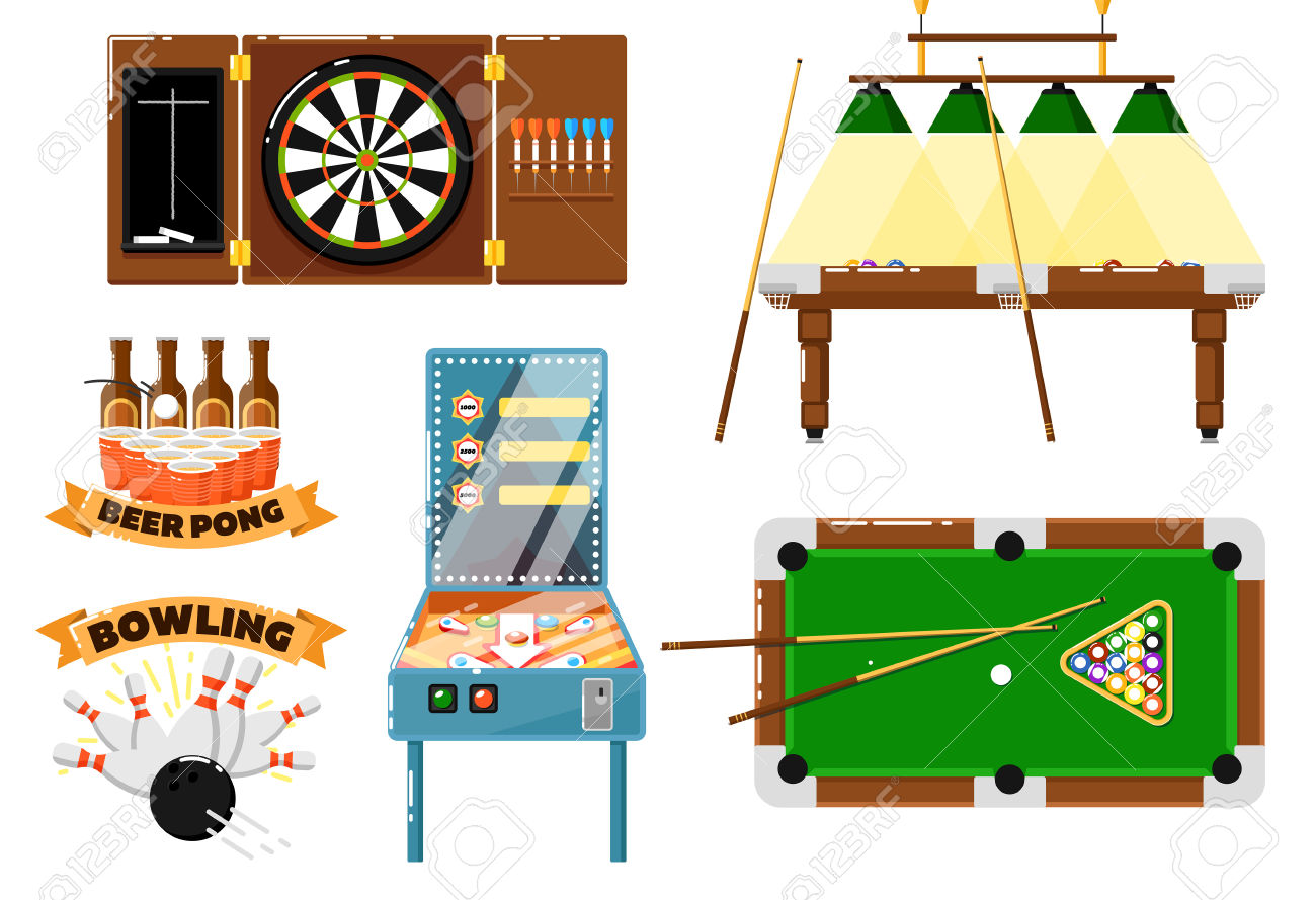 Active Leisure And Sport Game Set Isolated Vector Illustration.
